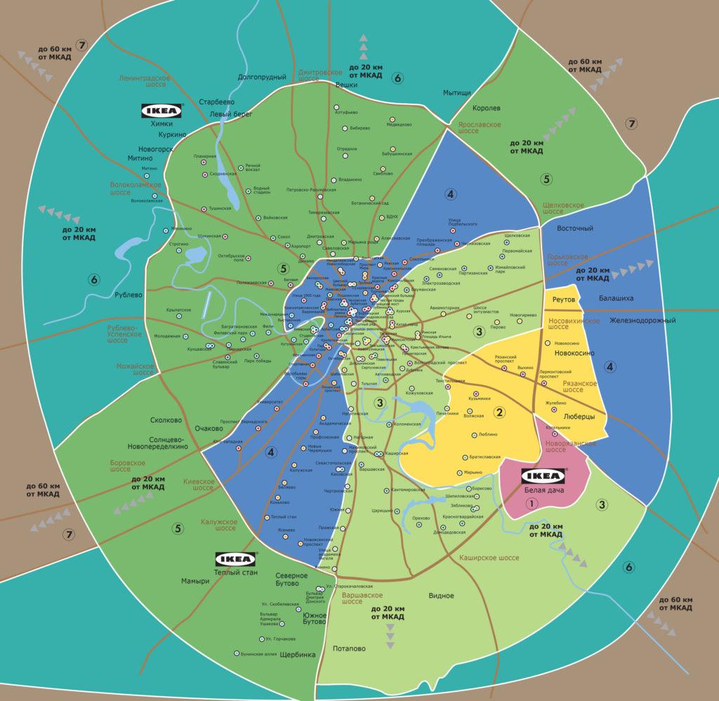 Карта зон доставки ИКЕА Белая Дача