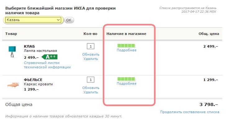 ИКЕА Чебоксары: проверка наличия товара в магазине в Казани