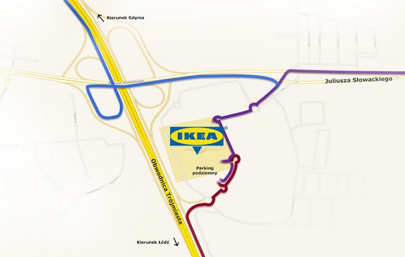 Карта проезда ИКЕА Гданьск