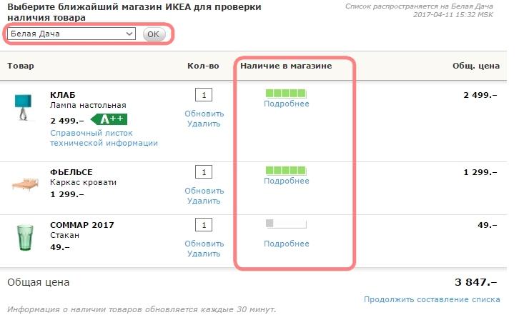 ИКЕА Иваново: проверка наличия товаров