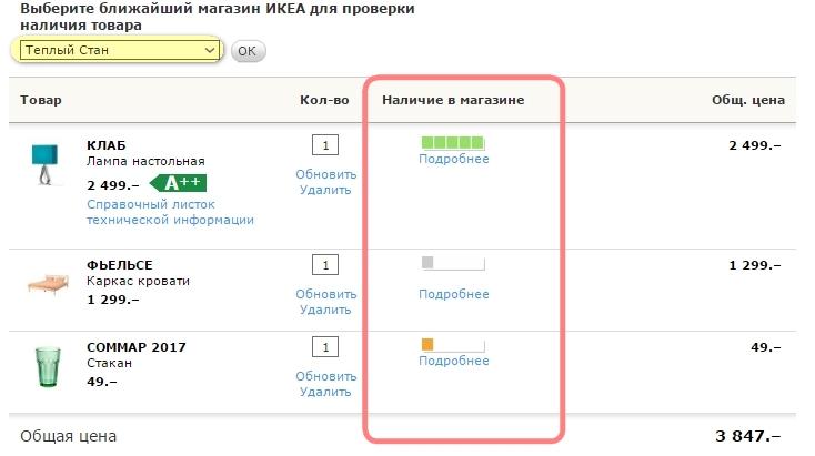 ИКЕА Могилев: проверка наличия товара на складе в Москве