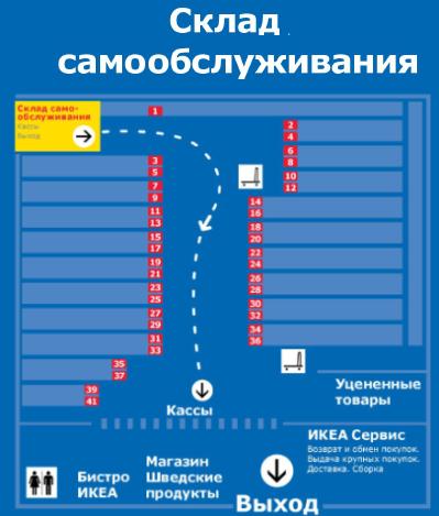 План магазина ИКЕА Самара: Склад самообслуживания